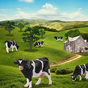 AN4301 12PCS 1:43 Farm Animals Cows O Scale PVC Well Painted Cow Use for Model Scenery Desktop Decor Railway Layout Diorama