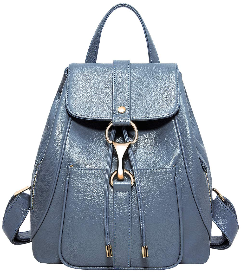 BOYATU Real Leather Backpacks Purse for Women Ladies Fashion Travel Shoulder Bag (Elegant Blue)