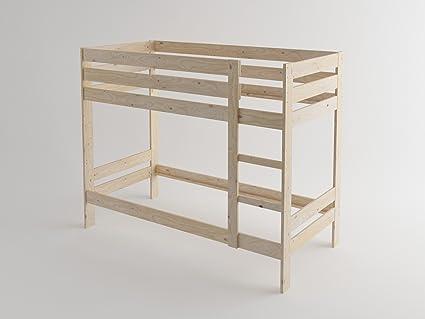 Estructura de litera de madera maciza (90_x_190_cm, Madera maciza pulida)