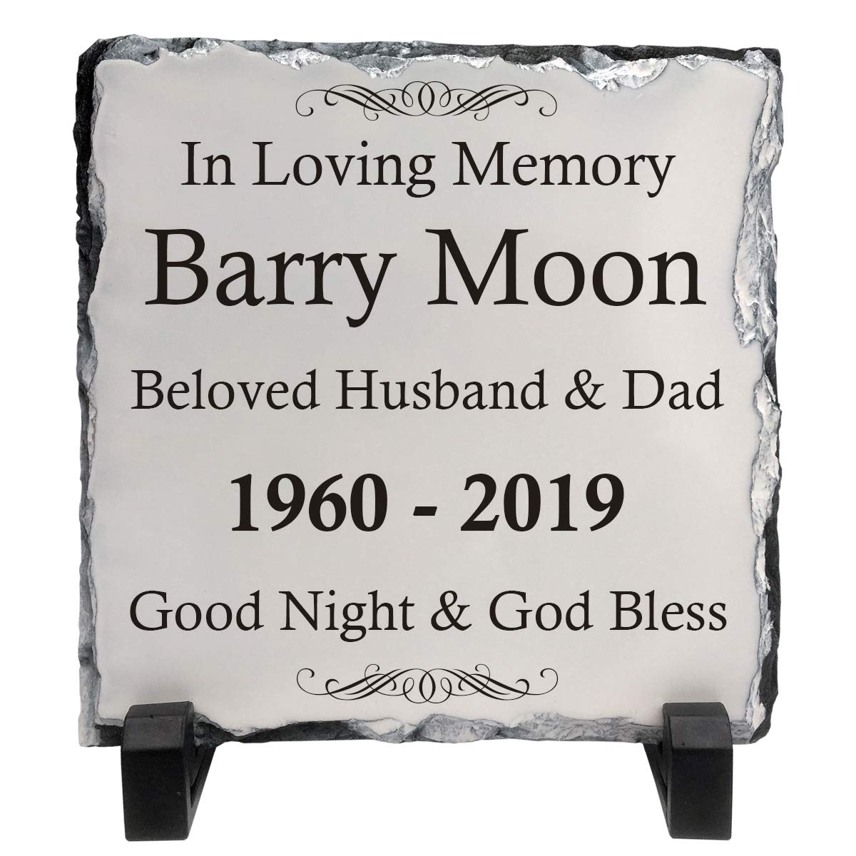 Personalised Memorial Plaque Rock Slate 15cm x 15cm Add any text Funeral Remembrance Gift idea