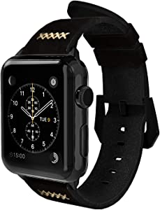 Gaze Leather Band Compatible with Apple Watch Band 38mm 40mm 44mm, Authentic Leather Replacement Strap Compatible with Apple Watch Series 5/4/3/2/1 (Black, 38mm / 40mm)