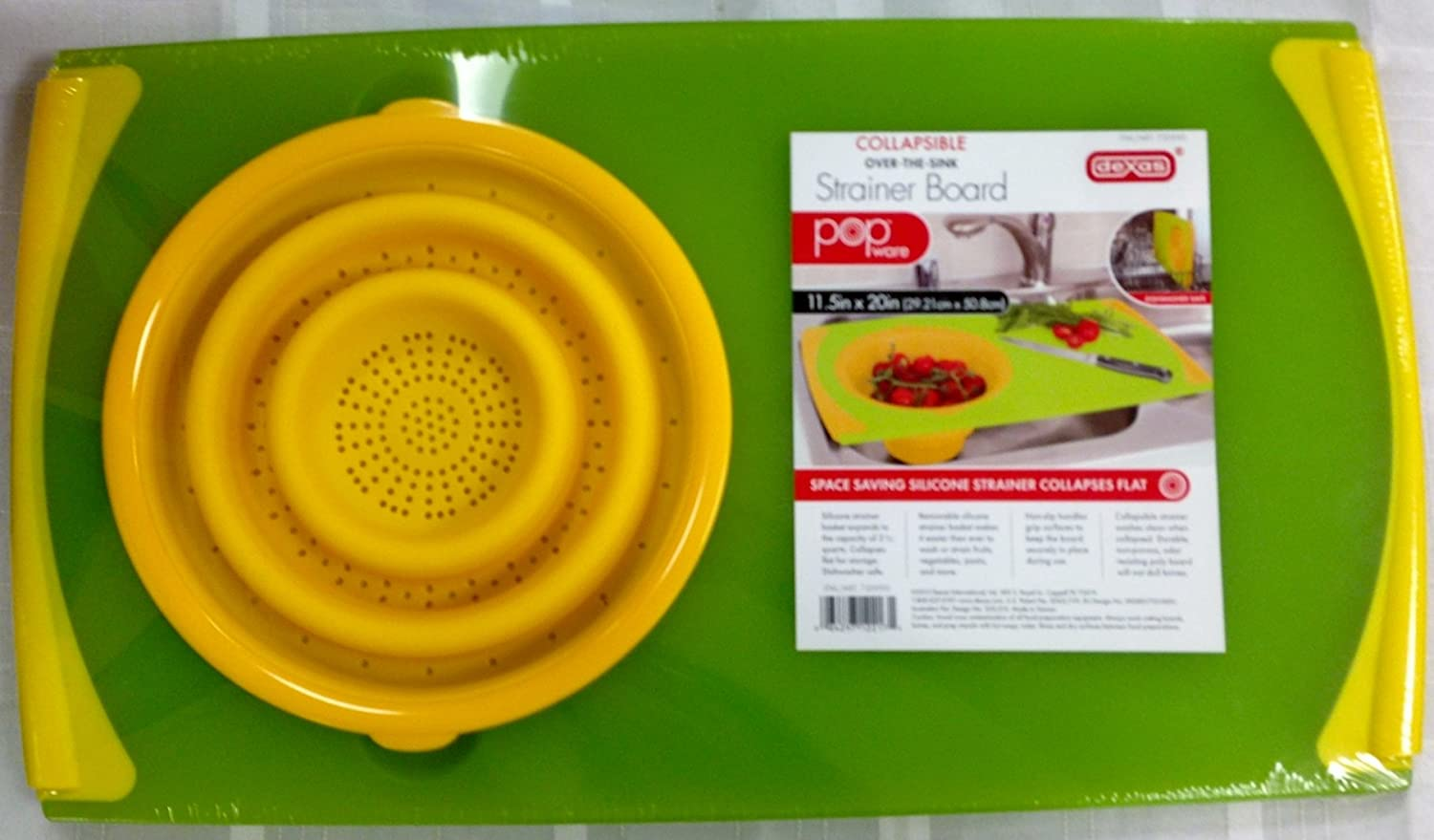 Silicone Chopping Board With Over The  Sink Collapsable Collander/Strainer:  Amazon.co.uk: Kitchen U0026 Home