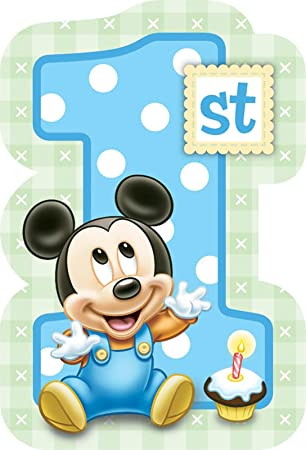 Geburtstag Baby Micky Maus U2013 Einladungskarten Mit Umschlag 10x15cm 8er Pack