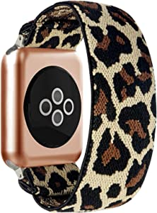 BMBEAR Stretchy Strap Loop Compatible with Apple Watch Band 38mm 40mm iWatch Series 6/5/4/3/2/1 Leopard
