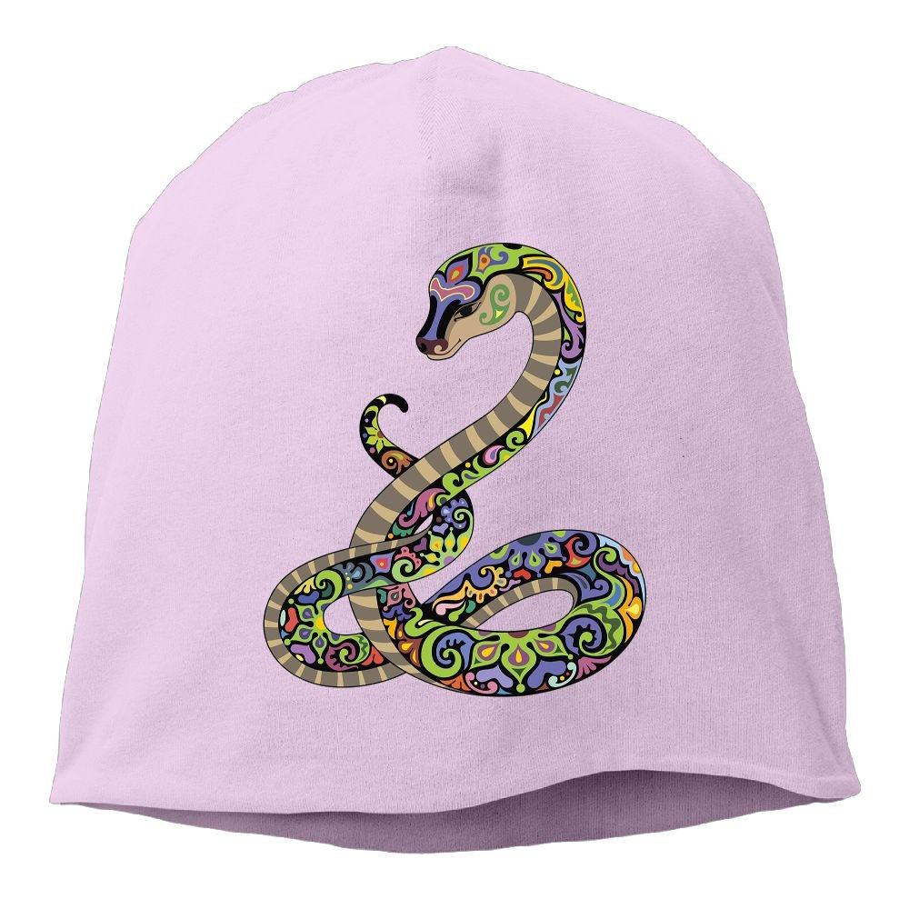 Reteone Fashion Solid Color Snake Colorful Pattern Hedging Cap for Unisex DeepHeather One Size