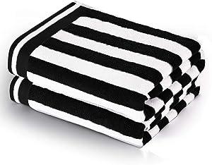 CASOFU Bath Towel Set, Cabana Stripe Bath Towels, Super Soft Cotton Bath Towels with Light Stripe - 100% Ring Spun Cotton Large Pool Towels - 2 Piece (Black, 2 Pack)