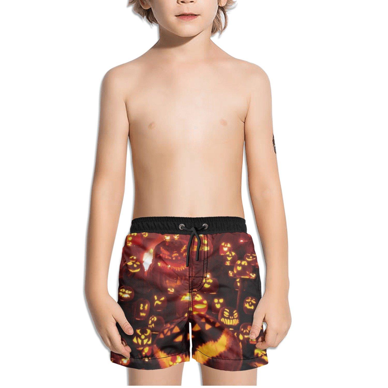 Ouxioaz Boys Swim Trunk Halloween Pumpkin Pattern Beach Board Shorts