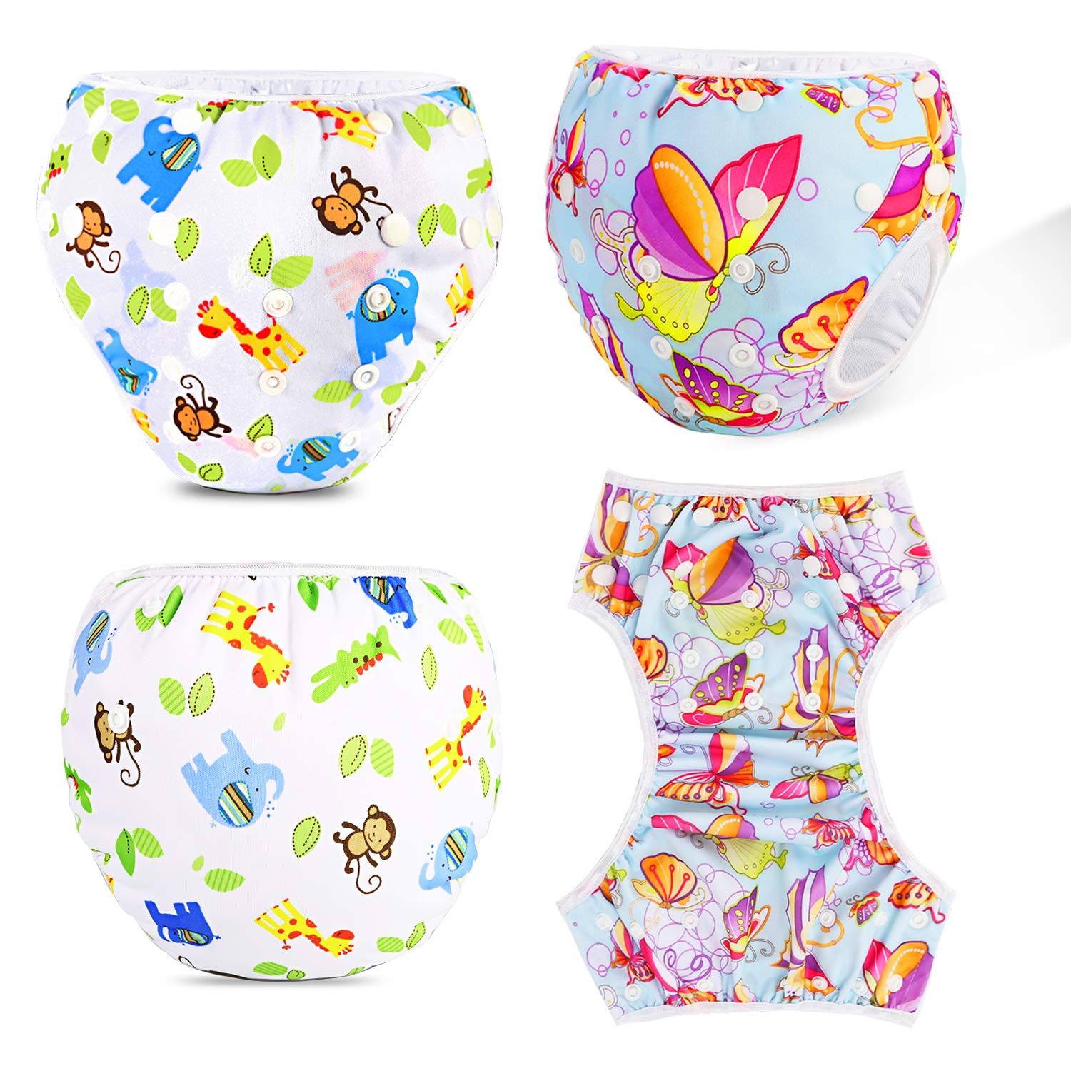 Perfect for Shower Beach /& Swimming Lessons Phogary Swim Nappies Reusable Baby Swim Nappy for 0-3yrs Weight 3-15kg Flog + Ice Cream 2-Pack