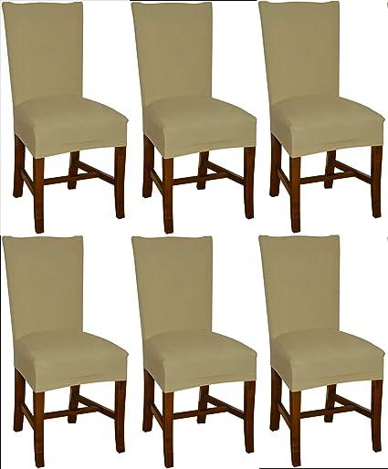 Bellboni Fundas para sillas, fundas elásticas, cubiertas para sillas, pack de 6, beis
