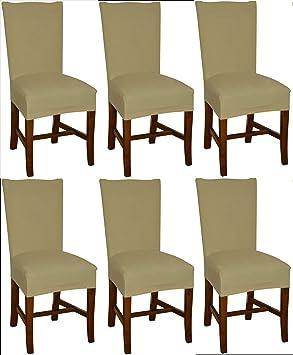 Bellboni Fundas para sillas, fundas elásticas, cubiertas para sillas, pack de 6, beis: Amazon.es: Hogar
