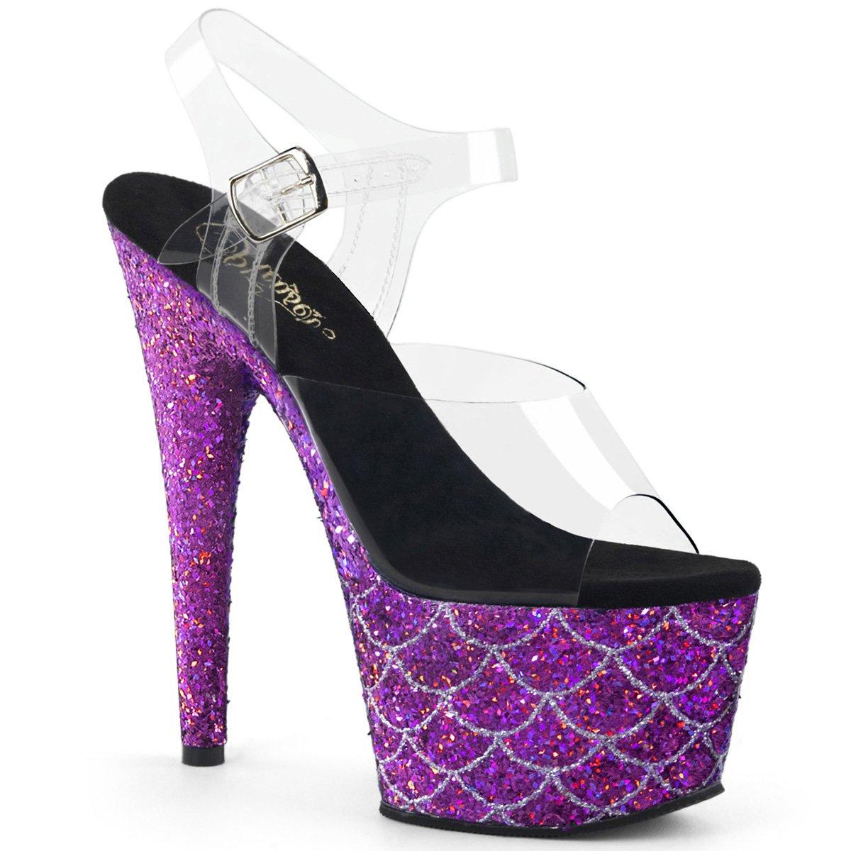 Women's Adore Purple Glitter Fish Scale Design Ankle-Strap Platform Sandals - DeluxeAdultCostumes.com