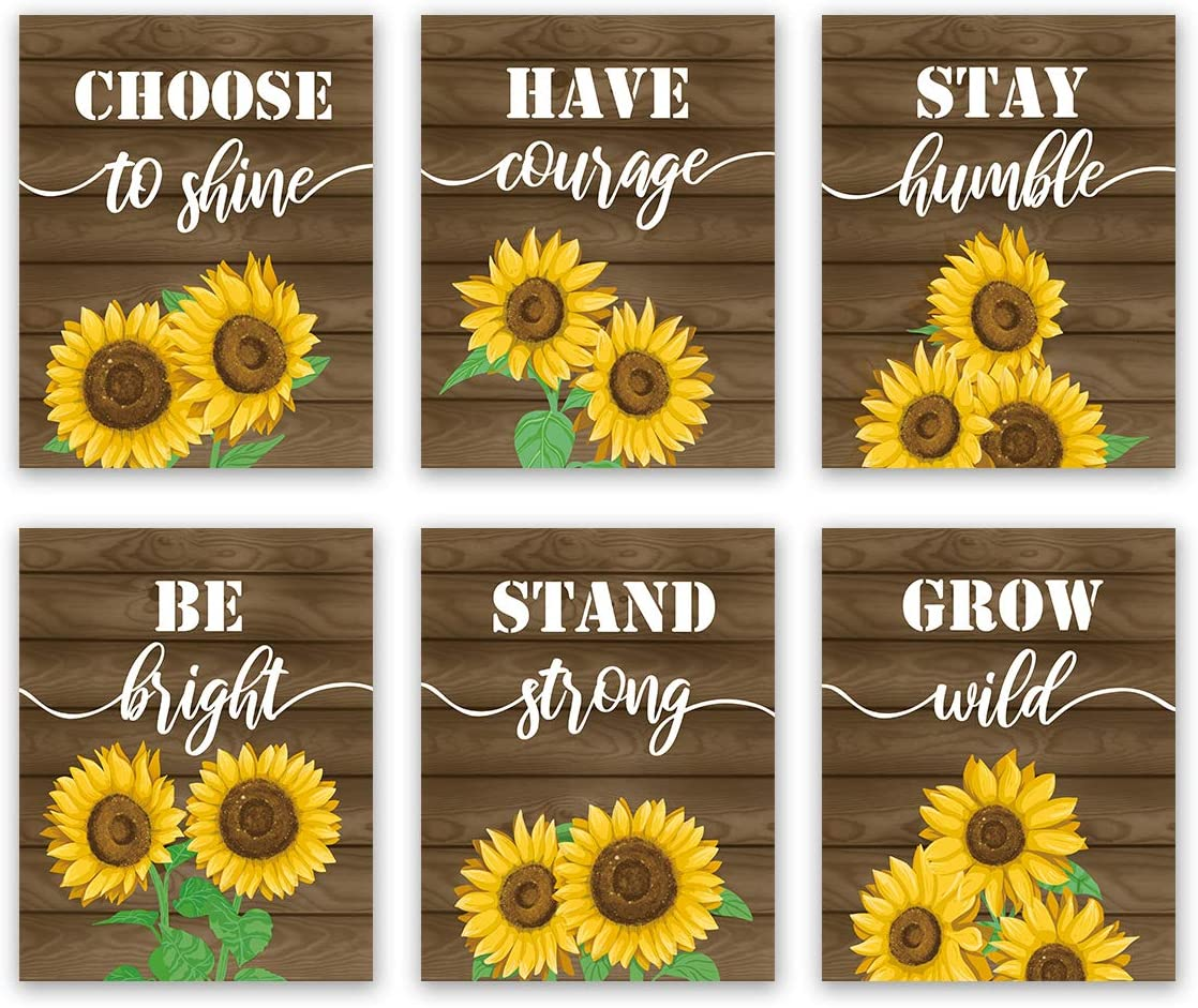 Sunflower Inspirational Quote Wall Art Print-- Blooming Yellow Flower Saying Canvas Print for Farmhouse (8