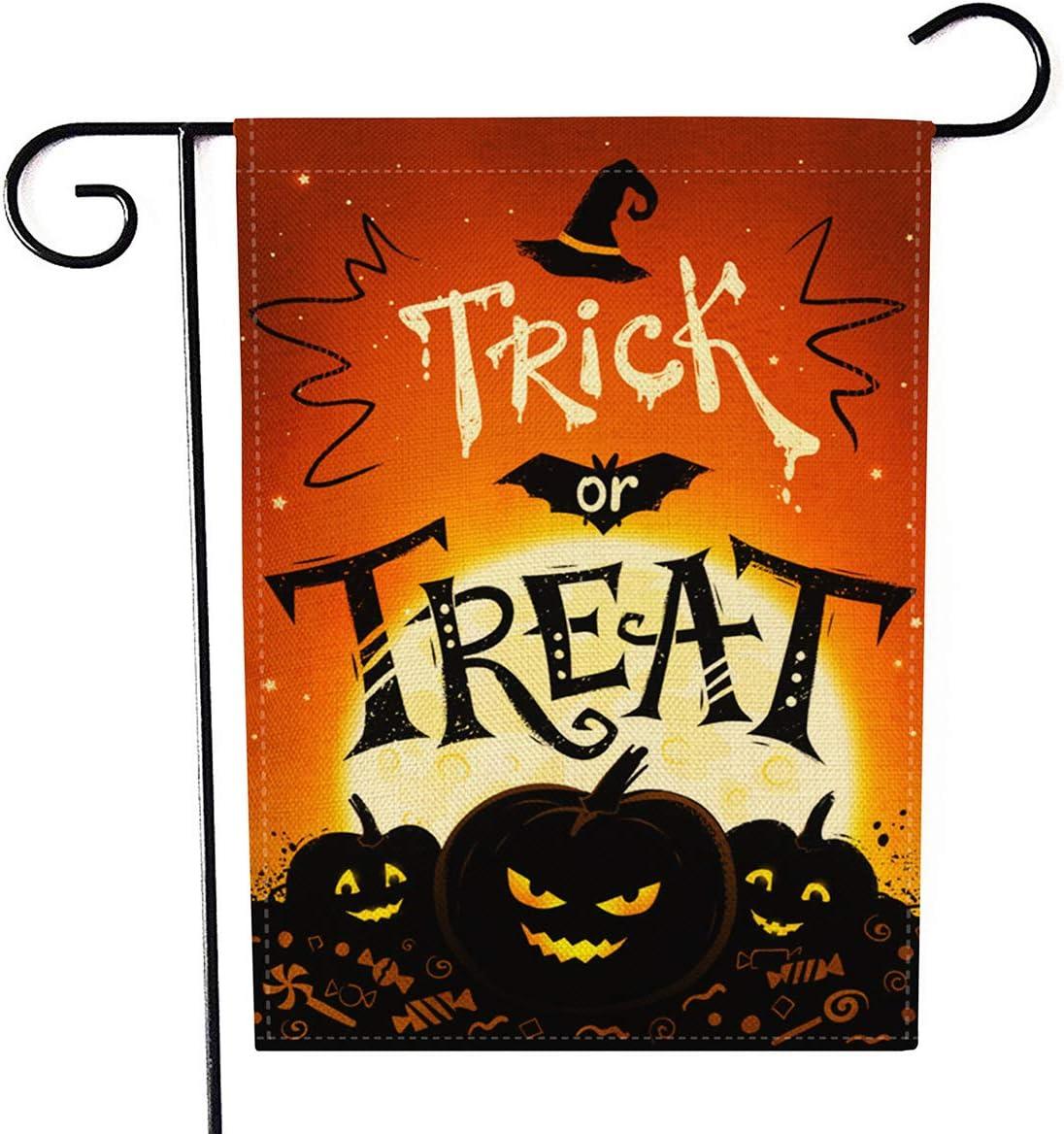 Emopeak Halloween Garden Flag, Outdoor Burlap Banners with Pumpkin- 12 x 18 Inch - Happy Halloween Decorations