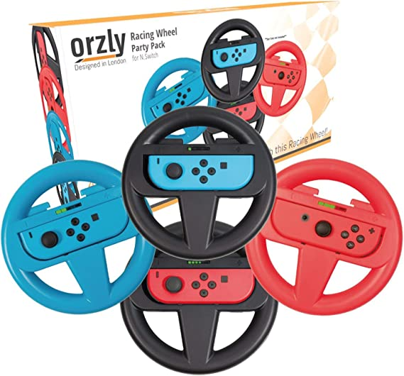 Amazon Com Orzly Nintendo Switch Steering Wheel Four Pack For