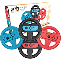 Orzly Steering Wheels for Nintendo Switch - Party Pack of FOUR Racing Wheels for use with Mario Kart 8 Deluxe, Switch…