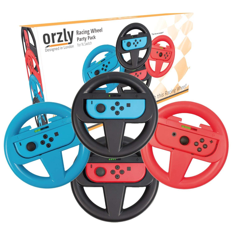 Orzly Nintendo Switch Steering Wheel, FOUR PACK, for Mario Kart 8 Deluxe Nintendo Switch, Mariokart Switch Steering Wheel (Joycon Controller Attachments) (2x Black Wheels, 1x Blue Wheel, 1x Red Wheel)
