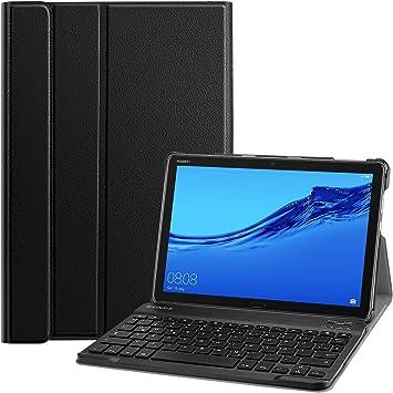 Fintie Funda con teclado para Huawei MediaPad M5 Lite de 10,1 pulgadas, ultrafina, ligera, con teclado Bluetooth desmontable magnético, con ...