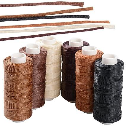 BETESSIN 6 Rollos Cordón Encerado 150D/1mm 50m Cuerda Encerada Multiolores Hilo de Cuero para Manualidades DIY Pulseras Abalorios Collares Monedero ...