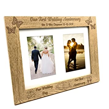 ukgiftstoreonline Personalised Our First Anniversary Double Wooden ...