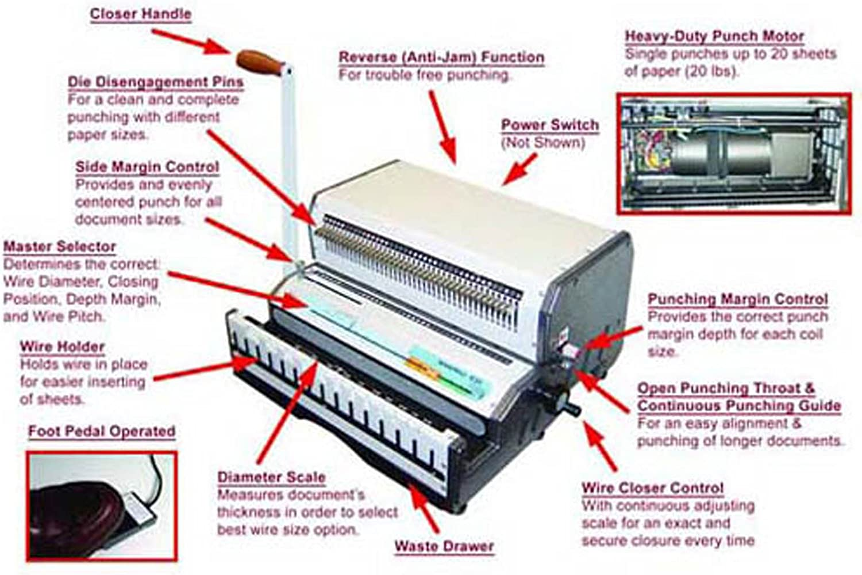 Akiles WireMac-E21 14 Electric Punch Manual Wire Binding Machine 2 ...