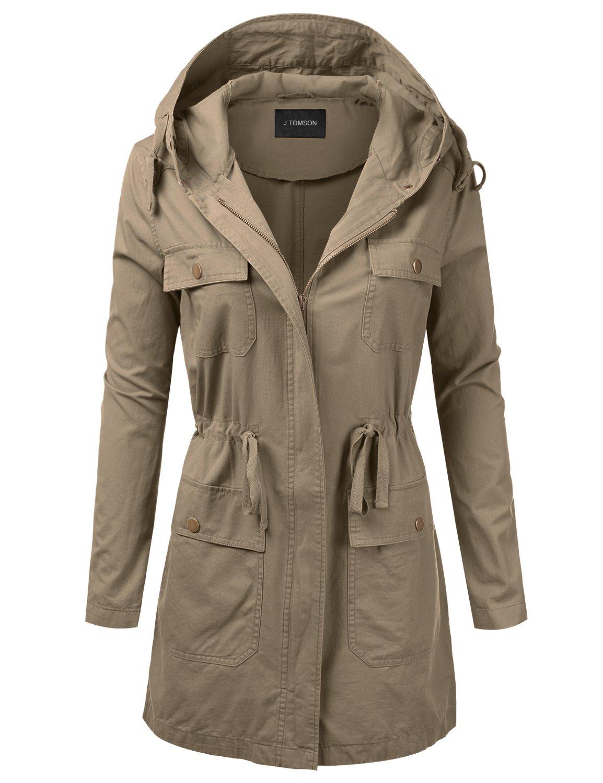 J.TOMSON Women's Woven Hooded Cotton Utility Jacket with Drawstring Waist Khaki 2XL
