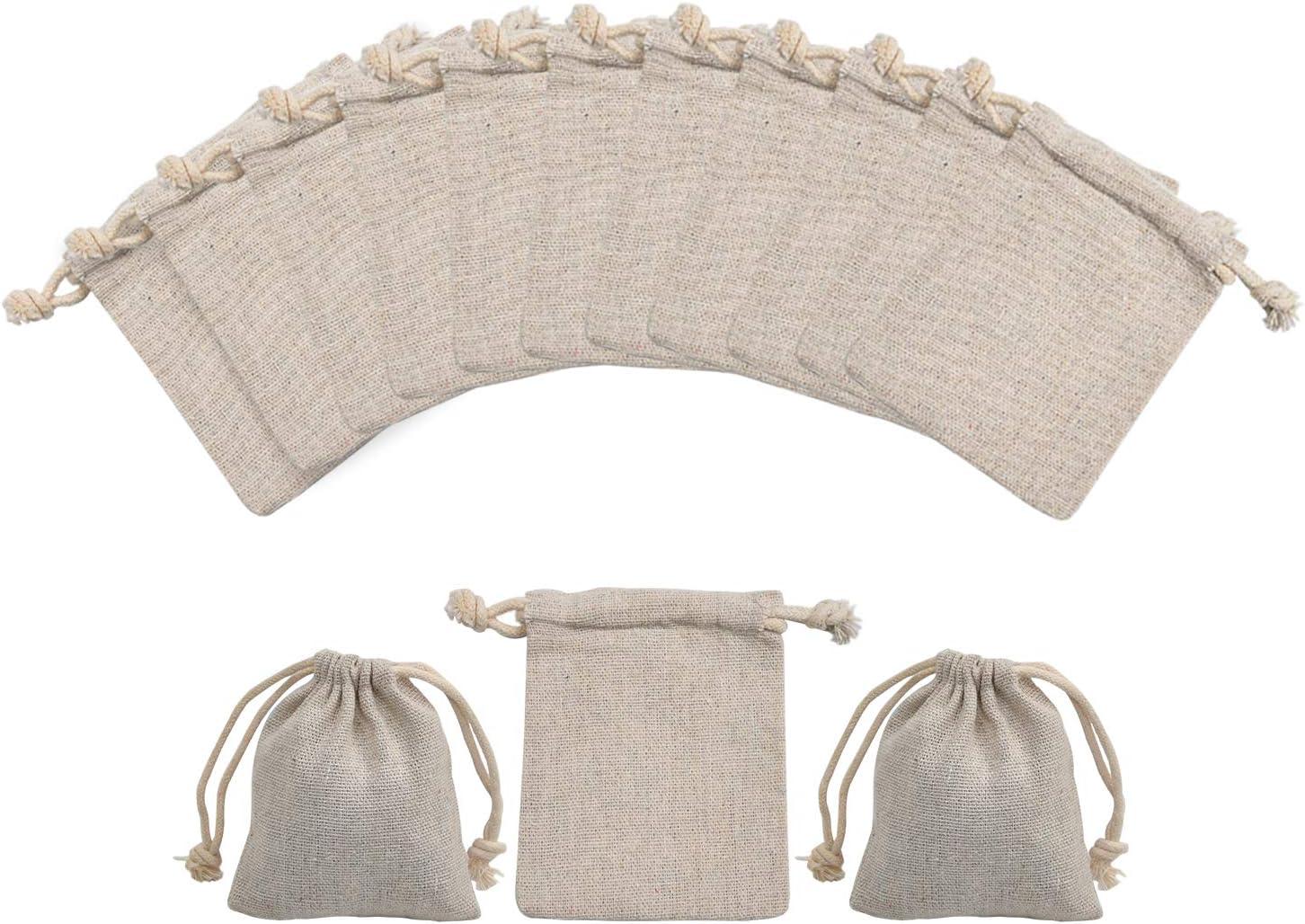 Calary 50pcs Double Canvas Drawstring Gift Bag Cotton Pouch Gift Sachet Bags Muslin Bag Reusable Tea Bag 5x7 Inch