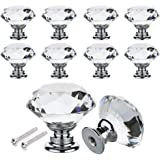 16PCS Crystal Glass Door Knobs Clear Diamond Pull Handle Zinc Alloy with Screw for Drawer Cabinet Furniture Kitchen Home Decorating