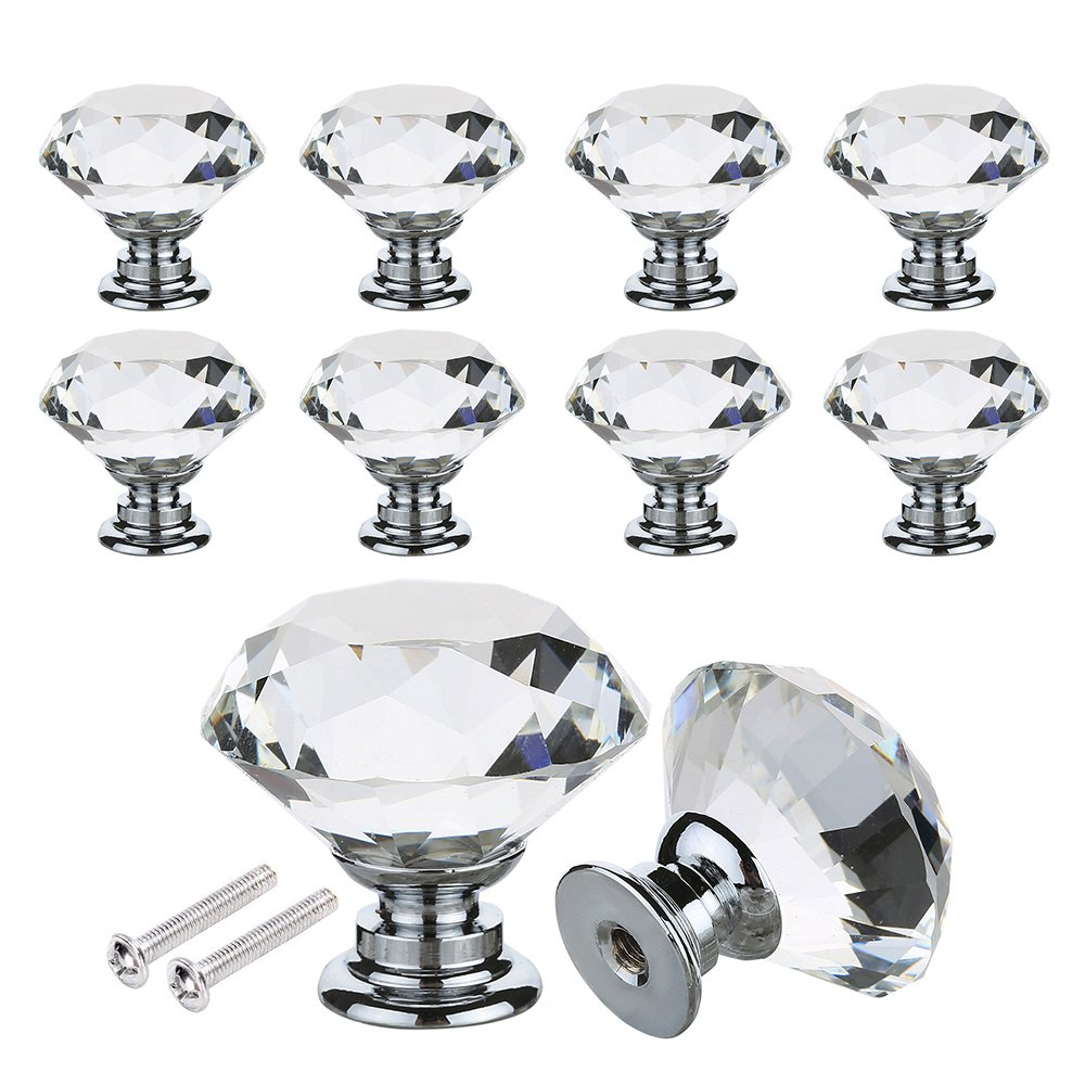 Drawer Knob Pull Handle Crystal Glass Diamond Shape Cabinet Drawer Pulls Drawer Kitchen Cabinet Knobs (30mm, 24 Pack)