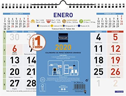 Finocam - Calendario de pared 2020 Color Números Grandes español ...