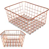 Vlish - 2 Rose Gold Wire Baskets, Rose Gold 2 Pack Wire Basket Set, Storage Decor Crafts Kitchen Organizing