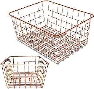 Vlish - 2 Rose Gold Wire Baskets, Rose Gold 2 Pack Wire Basket Set, Storage Decor Crafts Kitchen Organizing