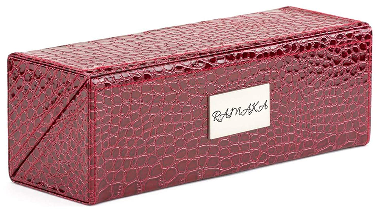 Makeup Brush Holder Box | Make Up Organizers and Storage by Ramaka Solutions | Professional Makeup Case Magnetic Closure | Faux Leather Cosmetic Organizer Decorative Boxes (9.25 X 3.25 Inches) Red