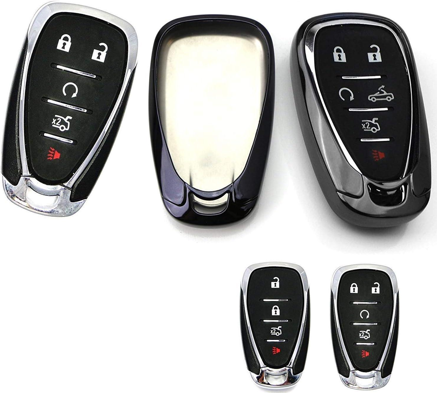 Black Cover HelloAuto Key Fob Shell Case Protector Holder Compatible with Chevrolet Chevy Malibu Camaro Cruze Traverse Sonic Volt Bolt Equinox