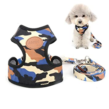 New Dog Puppy Pet Comfort Adjustable Blue Vest Leash Lead Mesh Harness Set sz L
