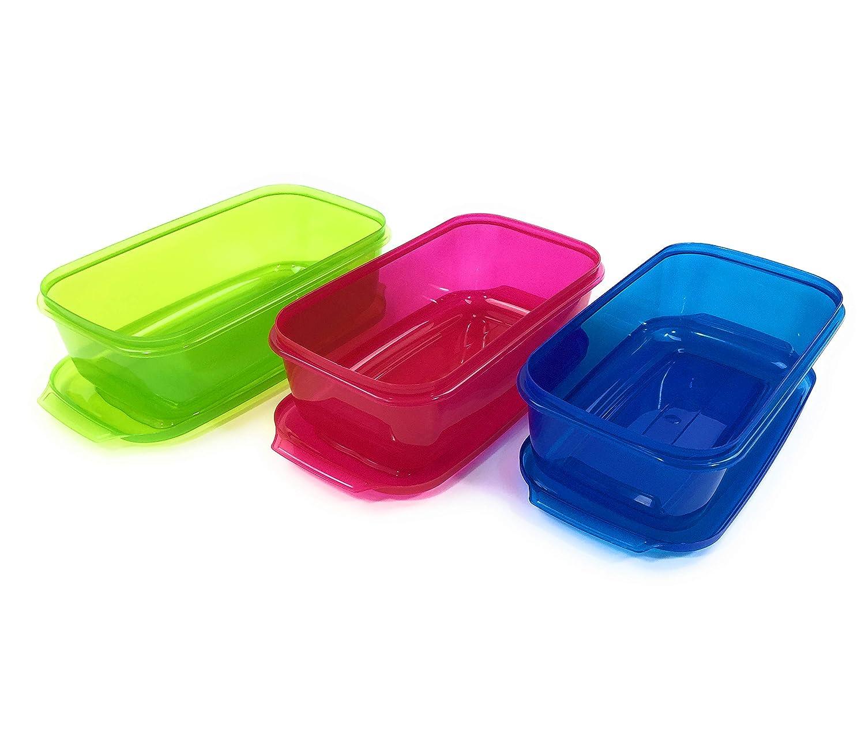 3 Farben Vorratsdosen geeignet f/ür Sp/ülmaschine und Gefrierschrank Aufbewahrungsbox mit Deckel - Frischhaltedosen aus Kunststoff Keksdosen Home Line Frischhaltebox Set 3X 3,5 L