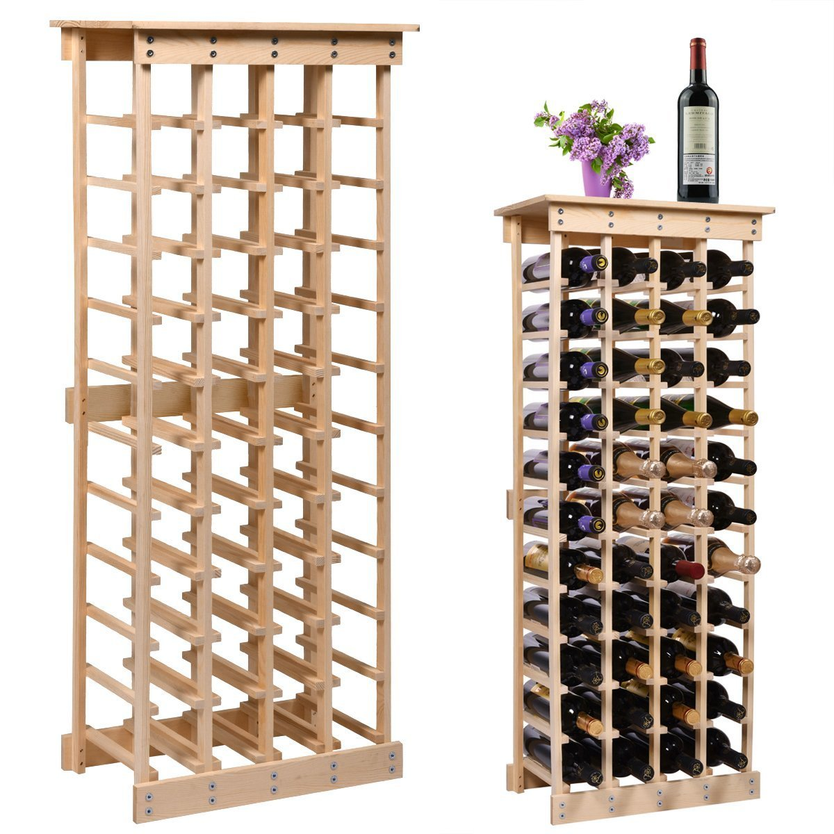 LAZYMOON 44 Bottle Wood Wine Rack Storage Display Shelves Kitchen Decor Natural