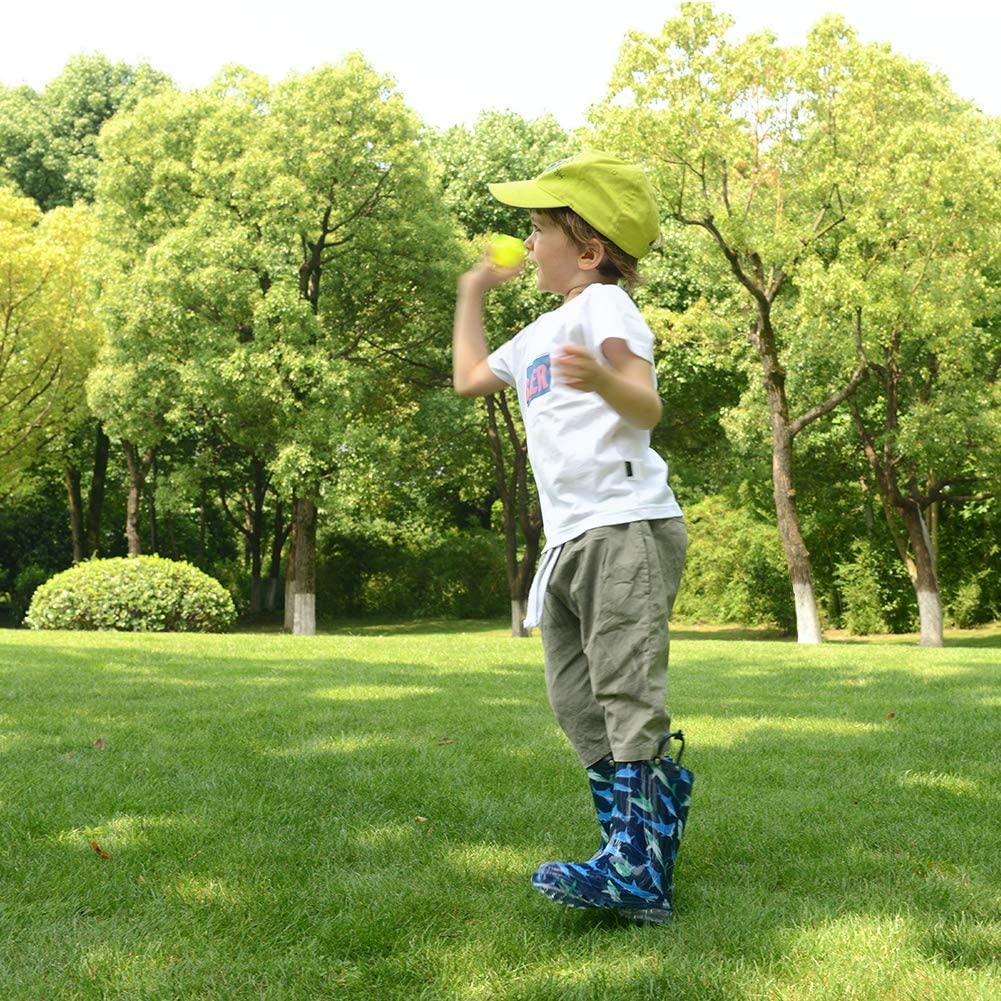 Boys /& Girls Lightweight Rainboots with Easy-On Handles landchief Kids Light Up Rain Boots