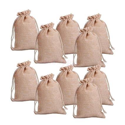 25//50//100 Burlap Favor Bag Hessian Drawstring Jute Sack Wedding Party Gift Pouch