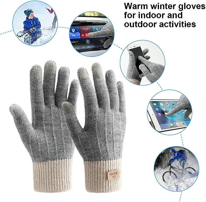 Winterhandschuhe Touchscreen Handschuhe Strick Fingerhandschuhe Sport Warm und Winddicht Winterhandschuhe f/ür Skifahren Radfahren und SMS Geeinget f/ür Damen und Herren