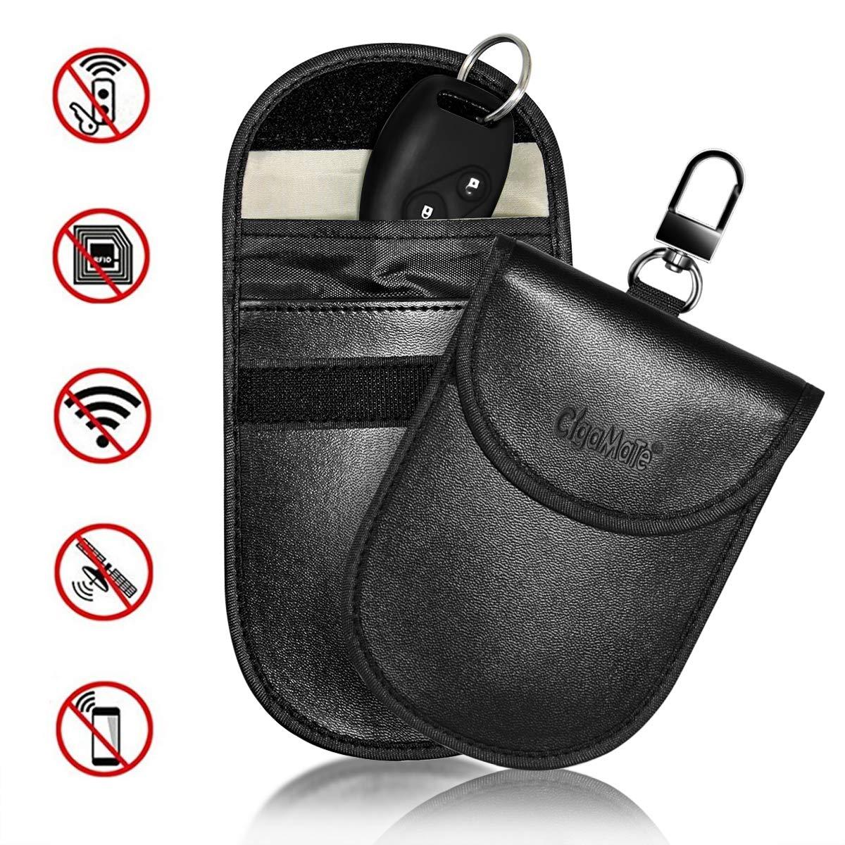 CigaMaTe 2xCar Key Signal Blocker Pouch, Fob faraday bag for car keys Keychain Anti-Theft Signal Blocking Case Protector for Keyless Car Key NFC/WiFi/LTE/RFID Blocker for Car Keys