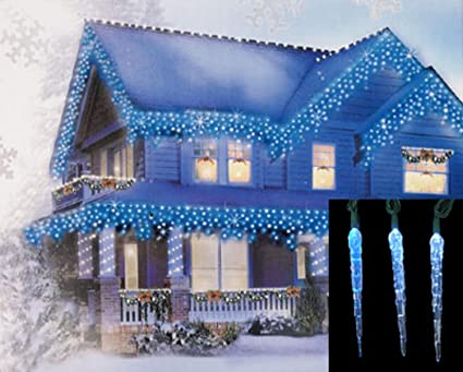 Set Of 10 Blue And White Color Changing Led Icicle Christmas Lights Green Wire