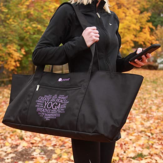 Aurorae Yoga Mat Bolsa de Tela Extra Ancho para Caber la mayor/ía colchonetas de Yoga y Accesorios Reforzada para Poli/éster