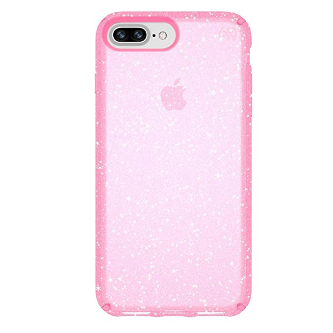 brand new ddc28 ebacd Speck 103123-6603 Products Presidio Clear + Glitter Case for iPhone 8 Plus  (Also fits 7 Plus and 6S Plus/6 Plus), Bella Pink With Gold Glitter/Bella  ...