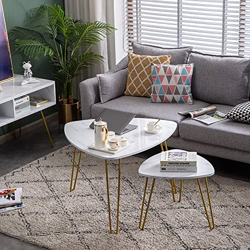 SSLine Gold Nesting Coffee End Tables Modern White Sofa Side Table with Golden Metal Frame and Faux Marble Top, Elegant Drop Shape Console Sofa Snack Tables for Living Room Balcony Office – Set of 2