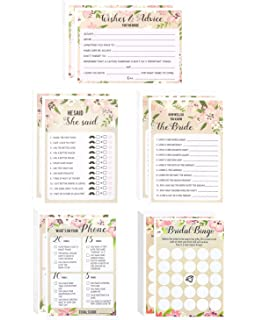 floral bridal shower games set of 5 games wedding game cards pack and party