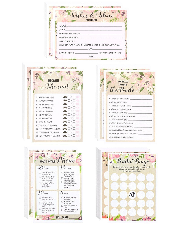 9ce2458bf4ef Amazon.com  Floral Bridal Shower Games - Set of 5 Games