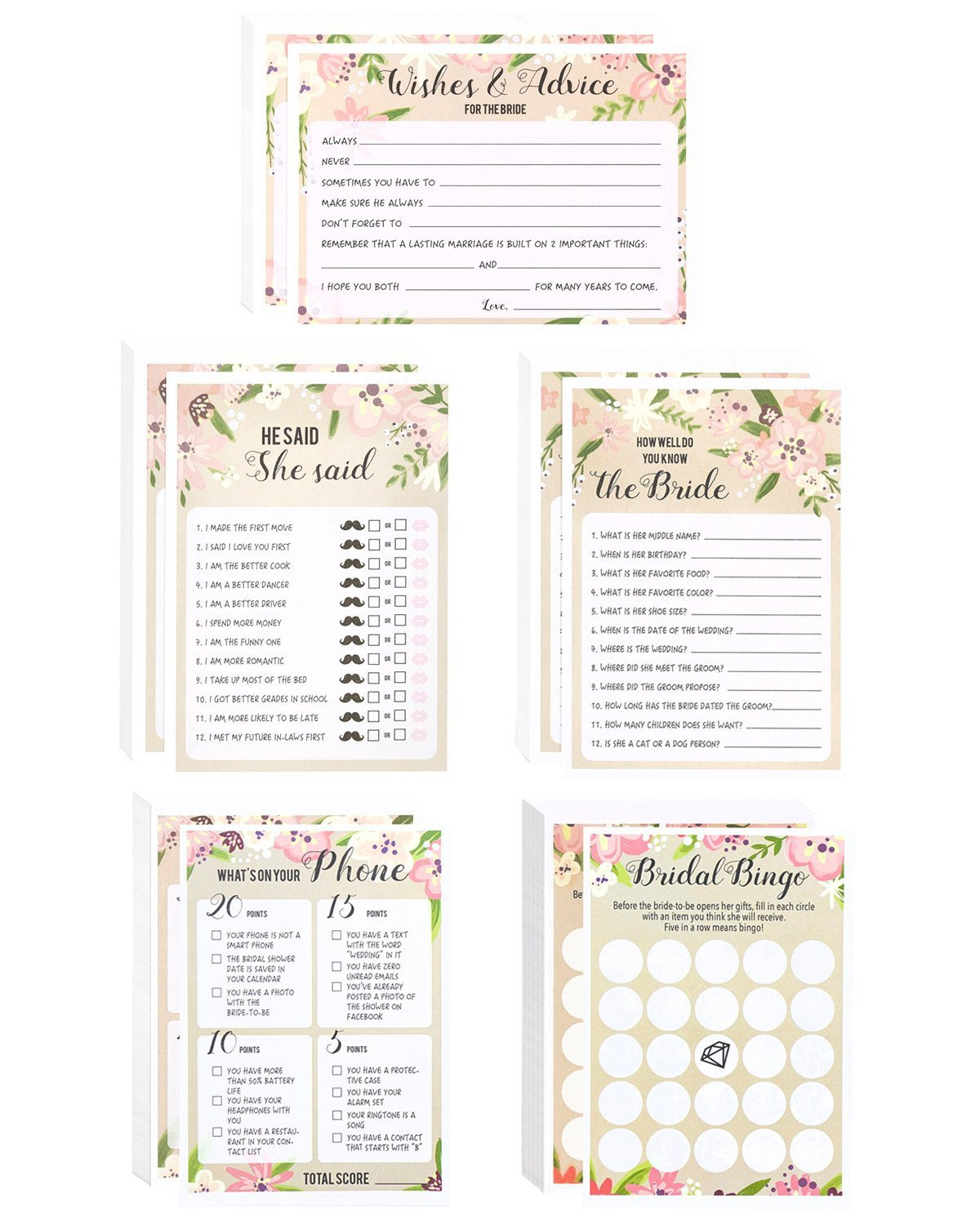 "Floral Bridal Shower Games - Set of 5 Games - Wedding Game Cards Pack and Party Supplies, Including Marriage Advice, Bingo, ""How Well do You Know the Bride"", 50 Sheets Each Game, Pink, 5 x 7 Inches"