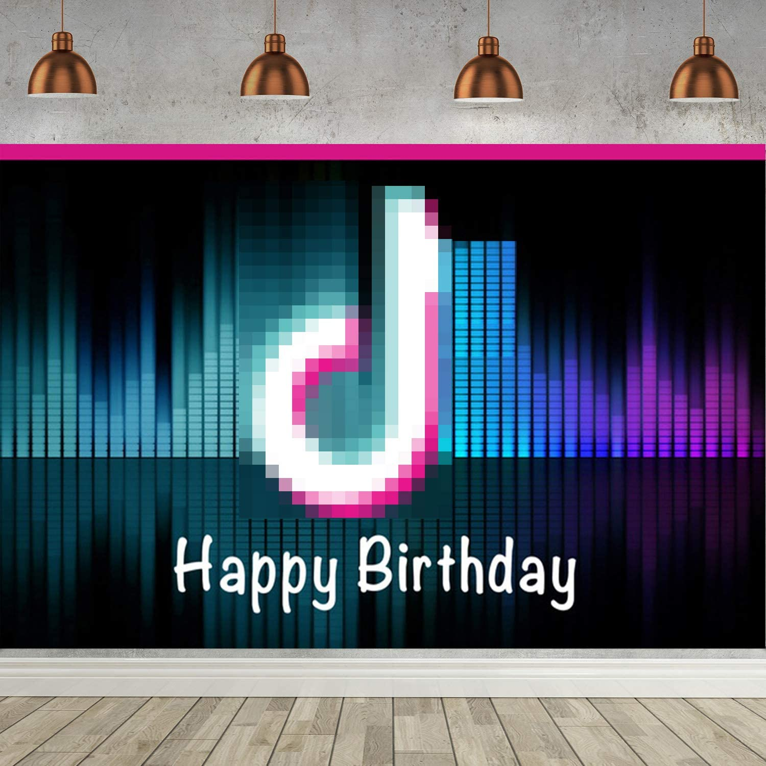 Musical Tic Toc Happy Birthday Banner Backdrop Superior Fabric Happy Birthday Background Birthday Party Decorations