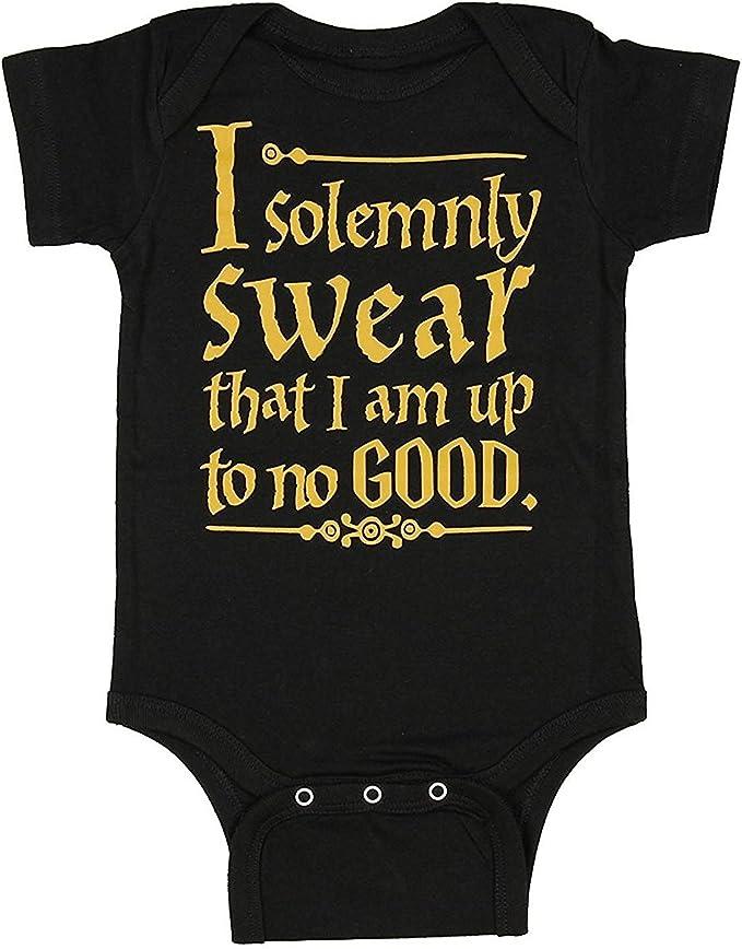 Unisex Baby I Solemnly Swear That I Am Up To No Good One Piece Bodysuit - Black