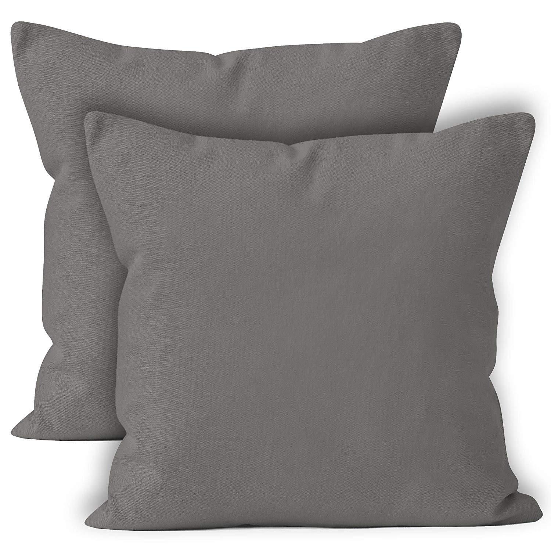 Cubrecojines estampado Encasa Homes - Colores planos teñidos de gran calidad - pack de 2 unidades-Beige